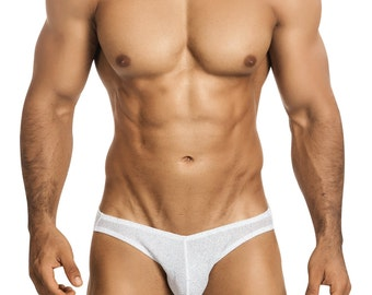 White Glitter Erotic Men's Bikini Underdwear by Vuthy Sim - 447