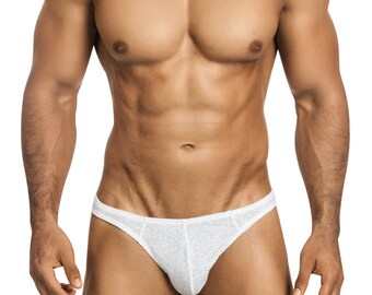 White Glitter Gstring/Thong Erotic Men's Underdwear by Vuthy Sim - 446