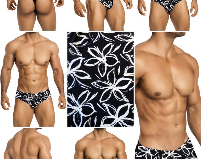 Black & White Botanical Swimsuits for Men by Vuthy Sim.  Choose Thong, Bikini, Brief, Squarecut - 177