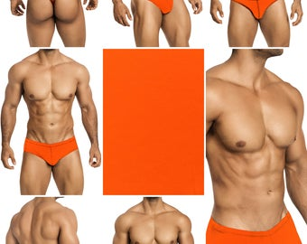 Screaming Neon Orange Swimsuits for Men. Choose Thong, Bikini, Brief, Squarecut, Boxer or Board Shorts - 19