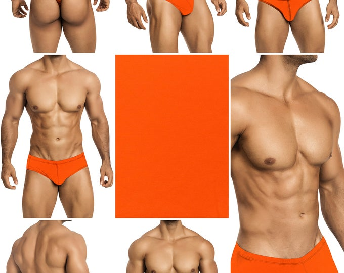 Screaming Neon Orange Swimsuits for Men. Choose Thong, Bikini, Brief, Squarecut, Boxer or Board Shorts - 19