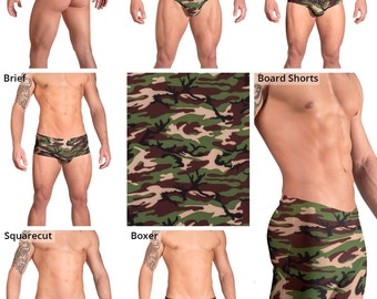 Green and Brown Camouflage Swimsuits for Men by Vuthy Sim.  Thong, Bikini, Breif, Squarecut - 156