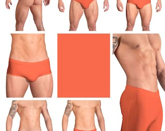 Solid Orange Swimsuits for Men by Vuthy Sim.  Choose Thong, Bikini, Brief, Squarecut, Boxer, or Board Shorts - 13
