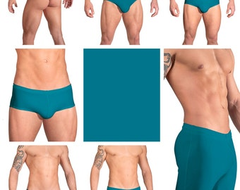 Solid Turquoise Swimsuits for Men by Vuthy Sim.  Choose Thong, Bikini, Brief, Squarecut, Boxer, or Board Shorts - 07