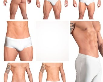 Solid White Swimsuits for Men by Vuthy Sim.  Choose Thong, Bikini, Brief, Squarecut, Boxer, or Board Shorts - 01