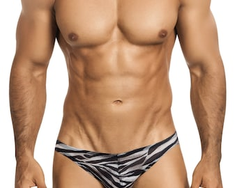 Men's Erotic Underwear Bikini in Super-Soft  & Comfy Zebra Mesh Print by Designer Vuthy Sim - 400-2