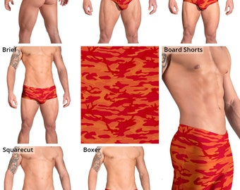 Bright Orange and Red Camouflage Swimsuits for Men by Vuthy Sim.  Thong, Bikini, Brief, Squarecut, Boxer, or Board Shorts - 158