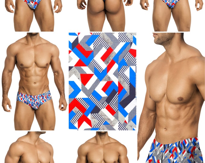 Geometric Flag Vuthy Sim Mens Swimsuits in 7 Styles - 261