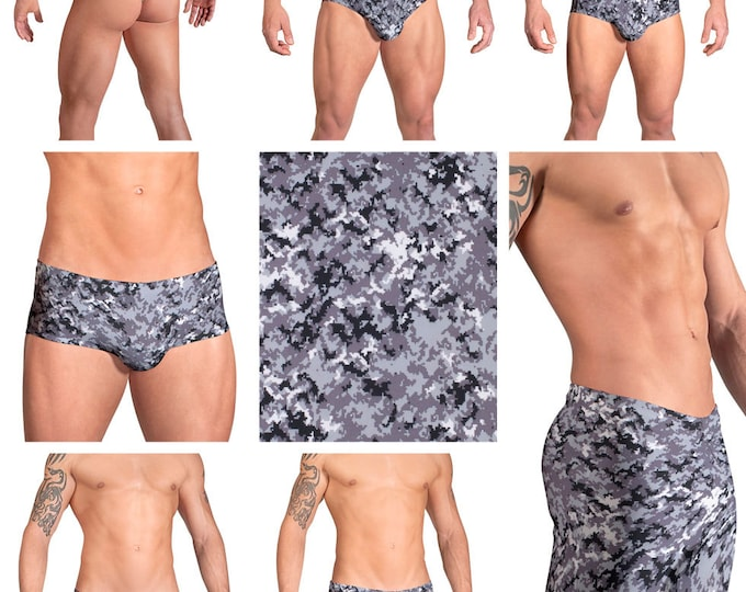 Desert Storm Camouflage Swimsuits for Men by Vuthy Sim.  Choose Thong, Bikini, Brief, Squarecut, Boxer, or Board Shorts - 121