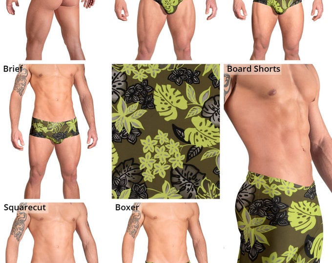 Green Tropical Leaf Swimsuits for Men by Vuthy Sim.  Thong, Bikini, Brief, Squarecut - 163