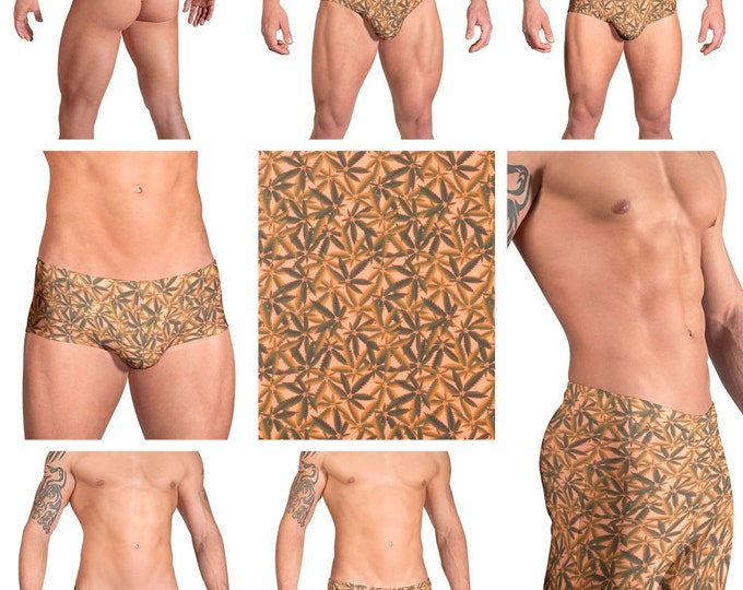 Orange Marijuana Print Mens Swimsuits by Vuthy Sim.  Choose from Thong, Bikini, Brief, Squarecut - 102