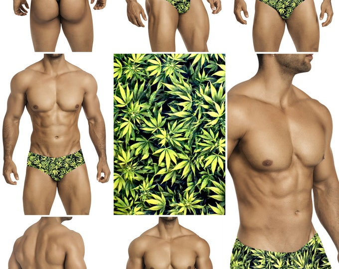 Green Marijuana Print Mens Swimsuits by Vuthy Sim.  Choose Thong, Bikini, Brief, or Squarecut  101