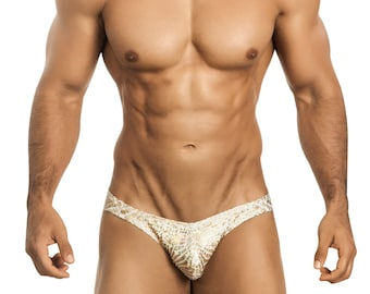 Men's Erotic Bikini Underwear in Sizzling Gold Foil by Vuthy Sim - 457