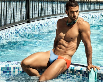 Unique Asymetrical Blue & Orange Men's Swimwear Bikini by Designer Vuthy Sim  17-13