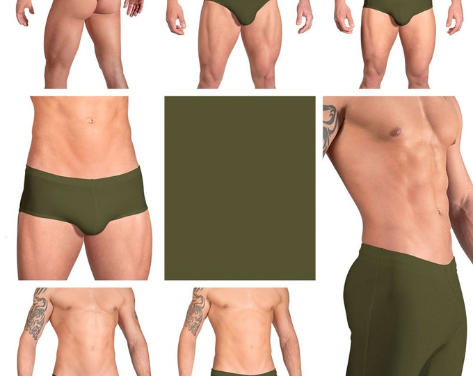 Solid Olive Green Swimsuits for Men by Vuthy Sim.  Choose Thong, Bikini, Brief, Squarecut, Boxer, or Board Shorts - 10