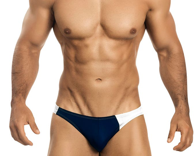 Navy & White Asymetrical Swim Bikini for Men by Vuthy Sim   15-1