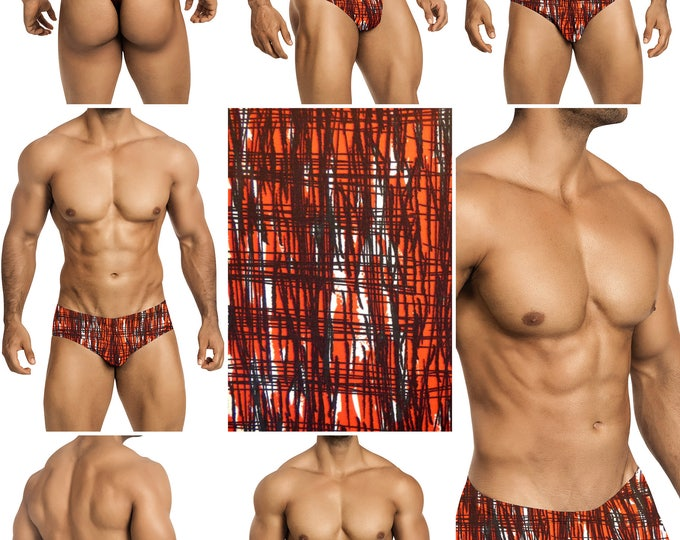 Red & Black Matrix Mens Swimsuits by Vuthy Sim.  Choose Thong, Bikini, Brief, Squarecut - 173