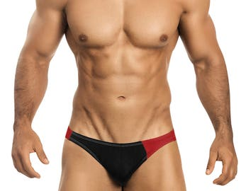 Black & Red Asymmetrical Swim Bikini for Men by Vuthy Sim    3-5