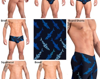 Blue Shark Swimsuits for Men by Vuthy Sim.  Thong, Bikini, Brief, Squarecut, Boxer, or Board Shorts - 167