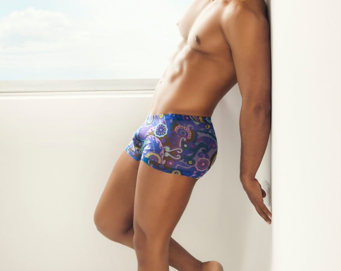 Blue Paisley Mesh Squarecut Erotic Underwear/Swimwear for Men by Vuthy Sim - 404-5