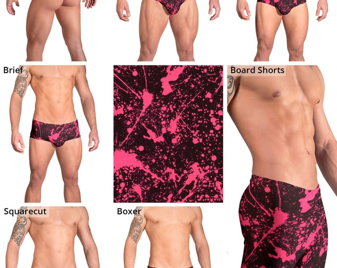 Pink and Black Splatter Swimsuits for Men by Vuthy Sim.  Thong, Bikini, Brief, Squarecut, Boxer, or Board Shorts - 153