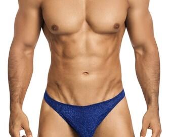 Royal Blue Glitter Men's Thong Erotic Underwear from Vuthy Sim - 450