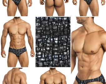 Black & Silver Burnt Velvet Mesh in 5 Styles - 215