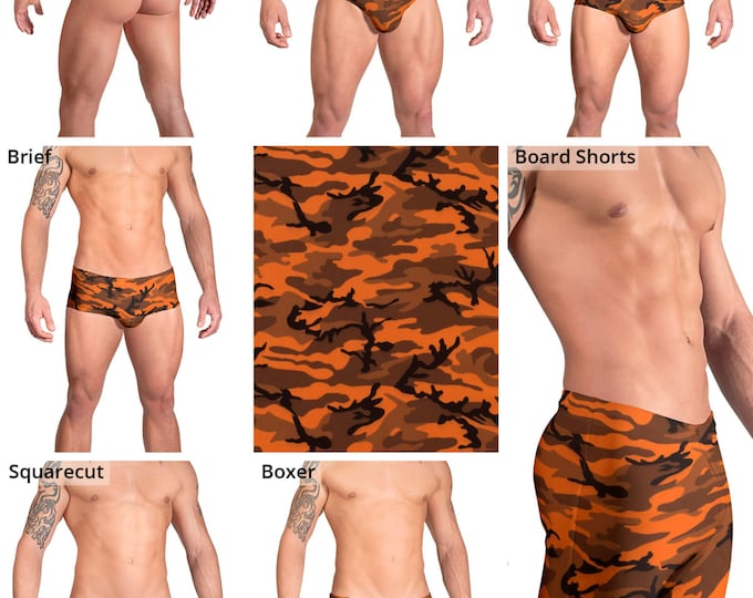 Deep Orange & Gray Camouflage Swimsuits for Men by Vuthy Sim.  Thong, Bikini, Brief, Squarecut, Boxer, or Board Shorts - 160