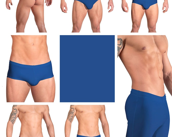Solid Royal Blue Swimsuits for Men by Vuthy Sim.  Choose Thong, Bikini, Brief, Squarecut, Boxer, or Board Shorts - 08