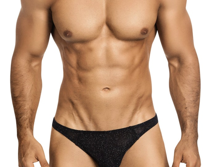 Studly Gstring/Thong Black Glitter Erotic Underwear for Men by Vuthy Sim - 454