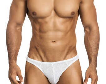 White Glitter Gstring/Thong Erotic Men's Underdwear by Vuthy Sim - 446