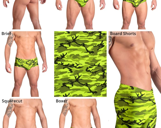 Bright Neon Green Camouflage Swimsuits for Men by Vuthy Sim.  Thong, Bikini, Brief, Squarecut, Boxer, or Board Shorts - 157