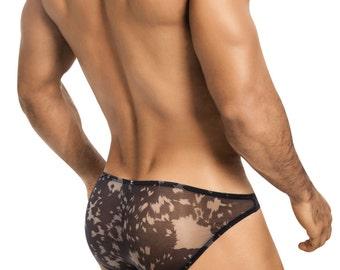 Men's See-Thru Black Mesh Erotic Underwear Bikini by Designer Vuthy Sim - 401-2