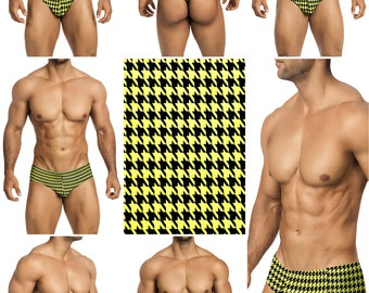 Yellow & Black Houndstooth Vuthy Sim Mens Swimsuits in 5 Styles - 266