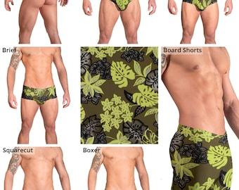 Green Tropical Leaf Swimsuits for Men by Vuthy Sim.  Thong, Bikini, Brief, Squarecut - 163