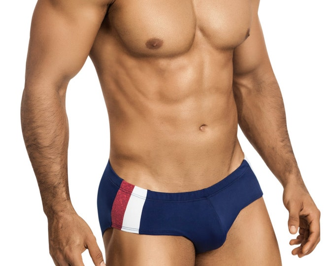 Patriotic Swim Brief in Navy Blue with Red & White Side Striping - 434-3