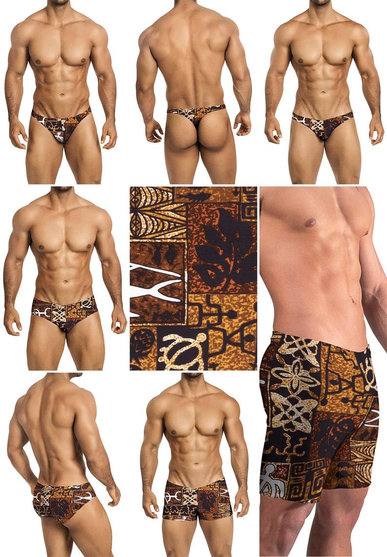 6237da18e Brown Polynesian Print in 4 Styles Thong-Bikini-Briefs 226