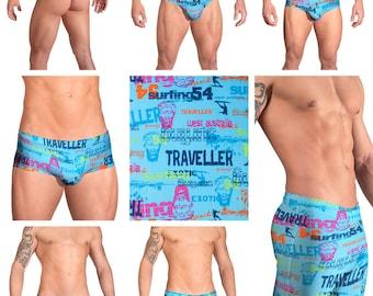 Blue Surfing Print Swimsuits for Men by Vuthy Sim.  Choose Thong, Bikini, Brief, Squarecut, Boxer, or Board Shorts - 119