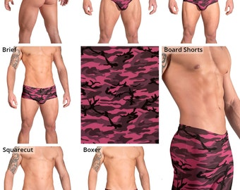 Pink and Gray Camouflage Swimsuits for Men by Vuthy Sim.  Thong, Bikini, Brief, Squarecut, Boxer, or Board Shorts - 159