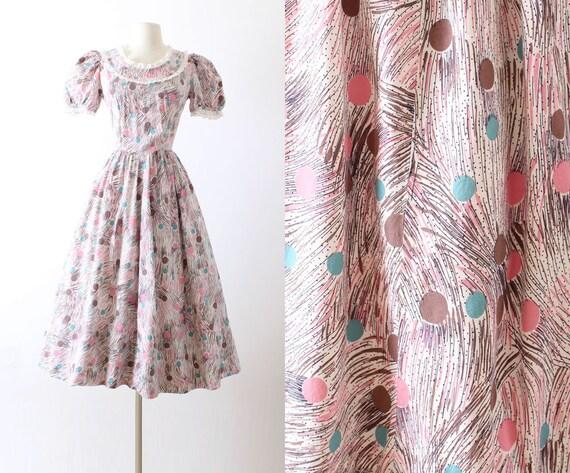 Vintage 1940s 40s Dress | pink polka dot puff slee