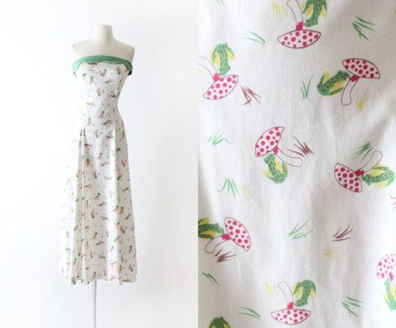 Vintage 1950s 50s Dress | novelty print frogs mush