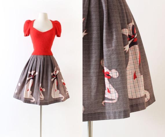 Vintage 1950s 50s Skirt | novelty print border pri