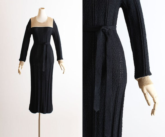 Vintage 1980s 80s Dress | belted knit pointelle sw