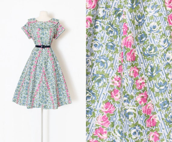Vintage 1950s 50s Dress | trailing rose print cott