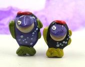 Lampwork beads fish beads , Murano glass , green purple 35 mm flamework hand blown sra ocean life bead set of two