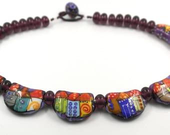 Glass necklace, multicolor lampwork glass bead neckpiece. Artist made sra ooak necklace