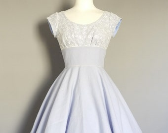 Lavender Linen & Ivory Lace Scoop Neck Swing Dress -Circle Skirt - Made by Dig For Victory