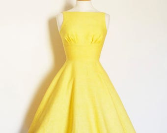 Sherbet Yellow Linen Tiffany Swing Dress - Made by Dig For Victory