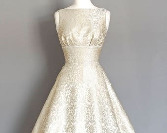 Silver and Pearl Brocade Tiffany Wedding Dress with Dipped Hem  - Made by Dig For Victory