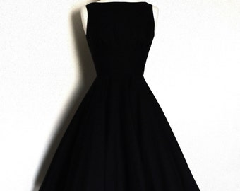 Black Linen Tiffany Tea Dress with Circle Skirt- Made by Dig For Victory